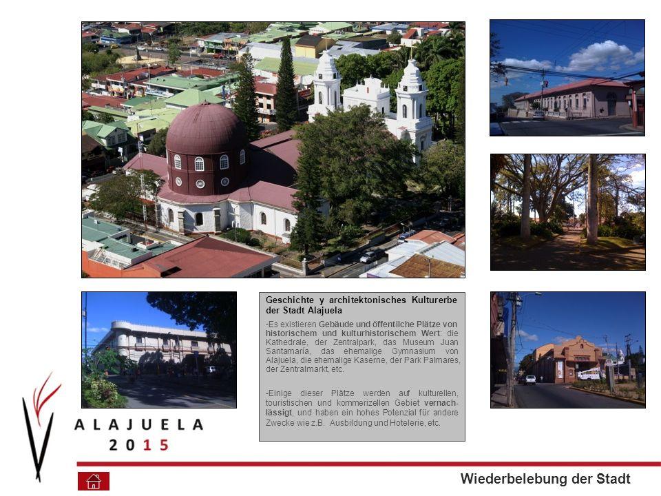 Geschichte y architektonisches Kulturerbe der Stadt Alajuela -Es existieren Gebäude und öffentilche Plätze von historischem und kulturhistorischem Wert: die Kathedrale, der Zentralpark, das Museum Juan Santamaría, das ehemalige Gymnasium von Alajuela, die ehemalige Kaserne, der Park Palmares, der Zentralmarkt, etc.