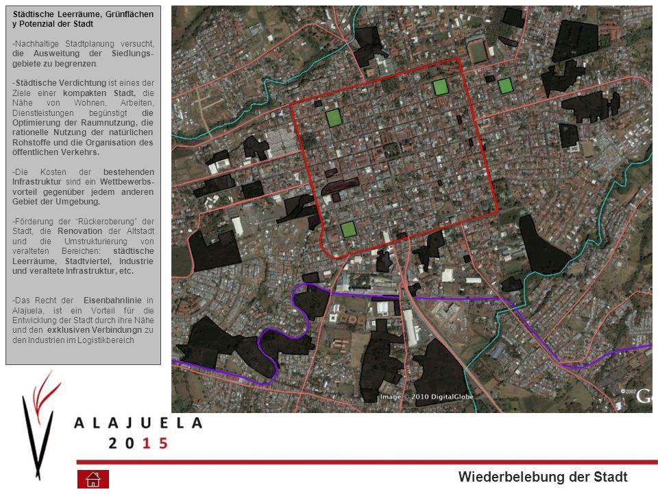 Städtische Leerräume, Grünflächen y Potenzial der Stadt -Nachhaltige Stadtplanung versucht, die Ausweitung der Siedlungs- gebiete zu begrenzen.
