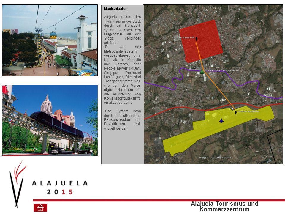 Möglichkeiten Alajuela könnte den Tourismus in der Stadt durch ein Transport- system welches den Flug-hafen mit der Stadt verbindet erhöhen.