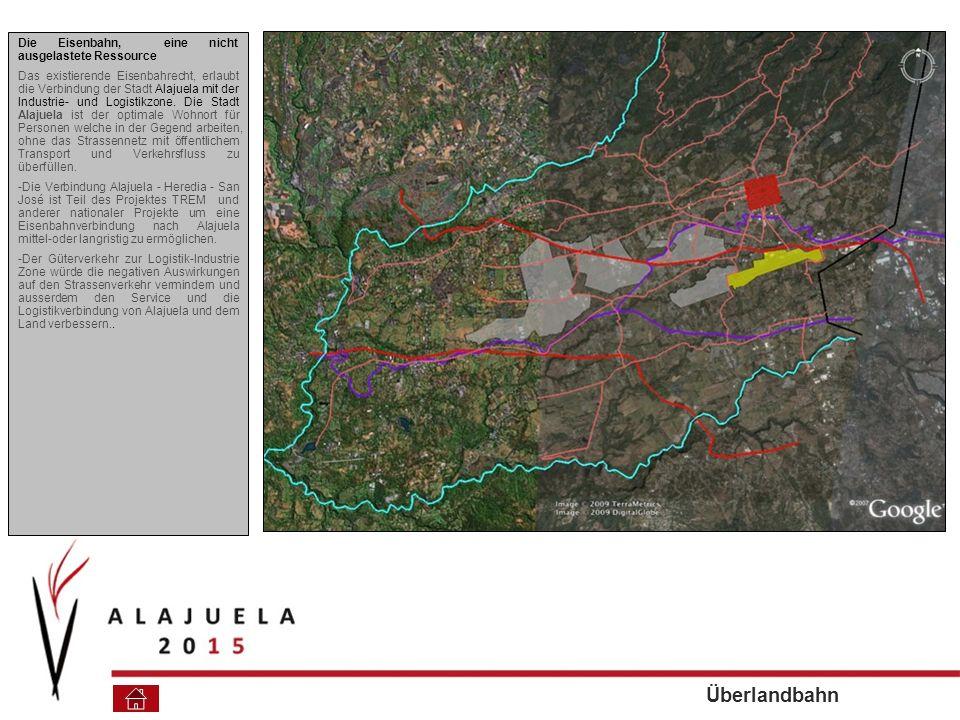 Die Eisenbahn, eine nicht ausgelastete Ressource Das existierende Eisenbahrecht, erlaubt die Verbindung der Stadt Alajuela mit der Industrie- und Logistikzone.