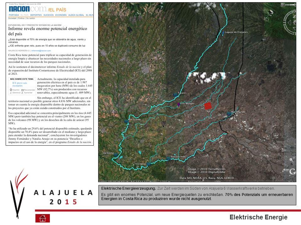 Elektrische Energieerzeugung.Zur Zeit werden im Süden von Alajuela 6 Wasserkraftwerke betrieben.