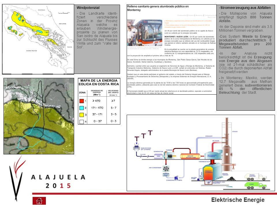 Windpotenzial - Die Landkarte identi- fiziert verschiedene Zonen in der Provinz Alajuela welche es erlauben Windenergie- projekte zu planen von San isidro de Alajuela bis zur Schlucht des Flusses Virilla und zum Valle del Sol.