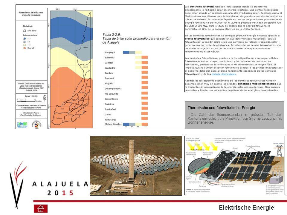 Thermische und fotovoltaische Energie - Die Zahl der Sonnenstunden im grössten Teil des Kantons ermöglicht die Projektion von Stromerzeugung mit Sonnenenergie.