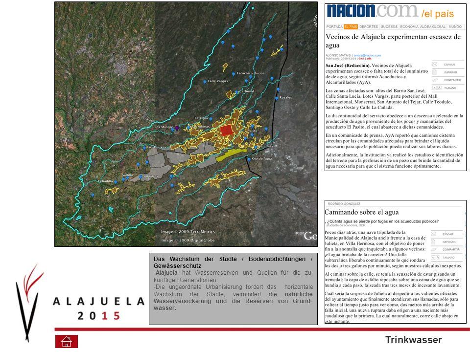 Das Wachstum der Städte / Bodenabdichtungen / Gewässerschutz -Alajuela hat Wasserreserven und Quellen für die zu- künftigen Generationen.