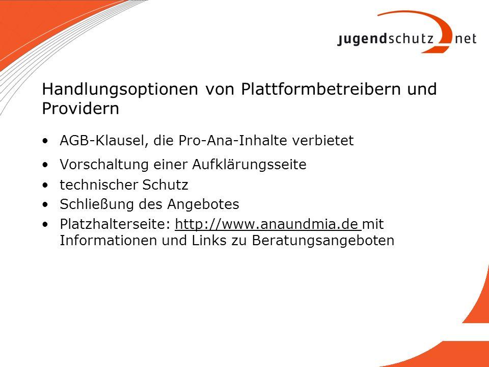 Handlungsoptionen von Plattformbetreibern und Providern AGB-Klausel, die Pro-Ana-Inhalte verbietet Vorschaltung einer Aufklärungsseite technischer Sch