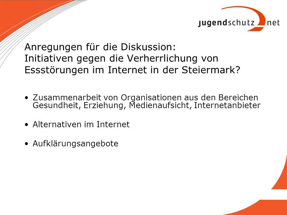 Anregungen für die Diskussion: Initiativen gegen die Verherrlichung von Essstörungen im Internet in der Steiermark? Zusammenarbeit von Organisationen