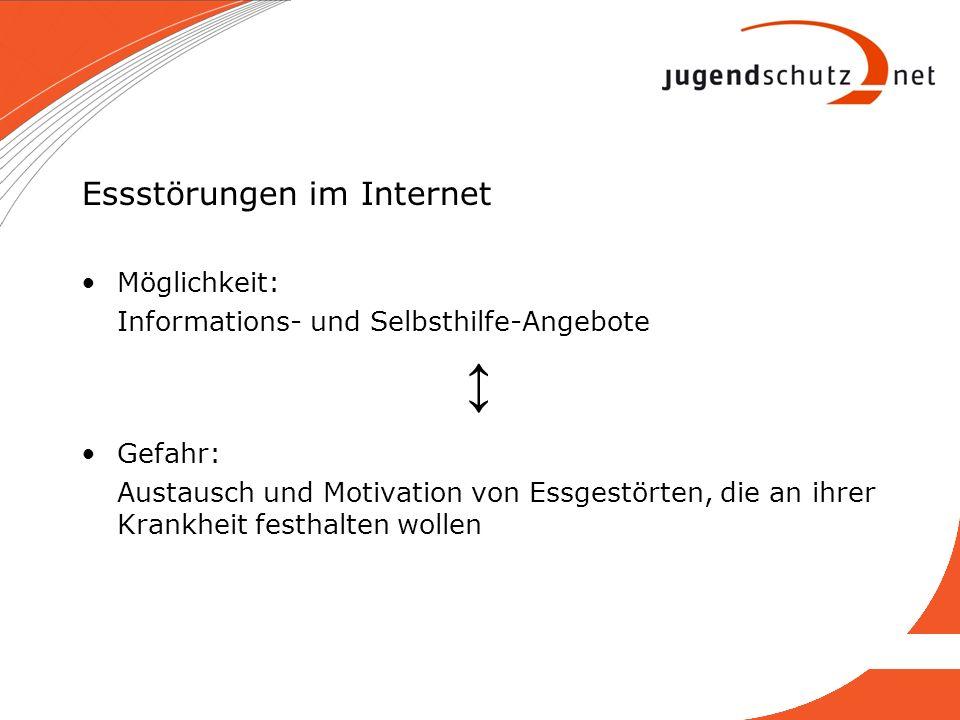 Essstörungen im Internet Möglichkeit: Informations- und Selbsthilfe-Angebote Gefahr: Austausch und Motivation von Essgestörten, die an ihrer Krankheit