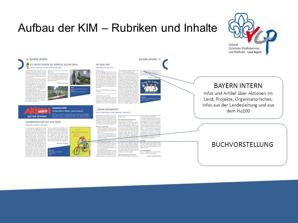 Aufbau der KIM – Rubriken und Inhalte BAYERN INTERN Infos und Artikel über Aktionen im Land, Projekte, Organisatorisches, Infos aus der Landesleitung und aus dem Hu100 BUCHVORSTELLUNG