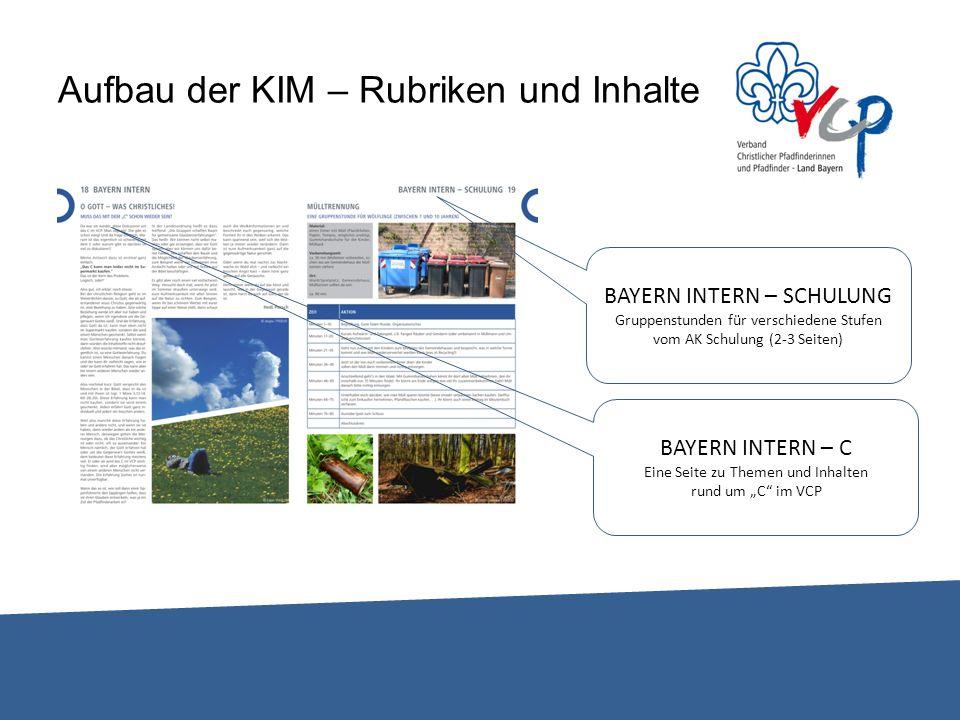 Aufbau der KIM – Rubriken und Inhalte BAYERN INTERN – SCHULUNG Gruppenstunden für verschiedene Stufen vom AK Schulung (2-3 Seiten) BAYERN INTERN – C E