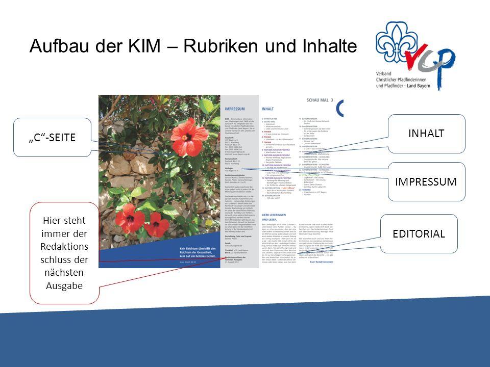 Aufbau der KIM – Rubriken und Inhalte INHALT EDITORIAL IMPRESSUM C-SEITE Hier steht immer der Redaktions schluss der nächsten Ausgabe