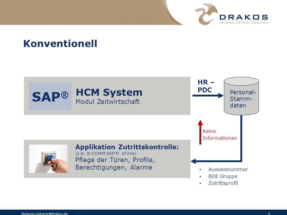 Melanie.Haberer@drakos.de 5 Konventionell HCM System Modul Zeitwirtschaft Applikation Zutrittskontrolle: (z.B. B-COMM ERP ® ; eTime) Pflege der Türen,