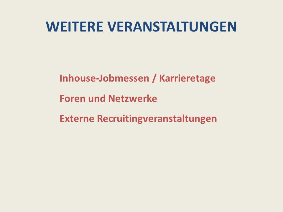 WEITERE VERANSTALTUNGEN Inhouse-Jobmessen / Karrieretage Foren und Netzwerke Externe Recruitingveranstaltungen