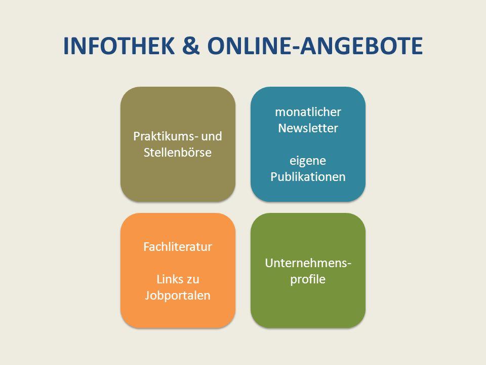 INFOTHEK & ONLINE-ANGEBOTE Praktikums- und Stellenbörse monatlicher Newsletter eigene Publikationen monatlicher Newsletter eigene Publikationen Fachli