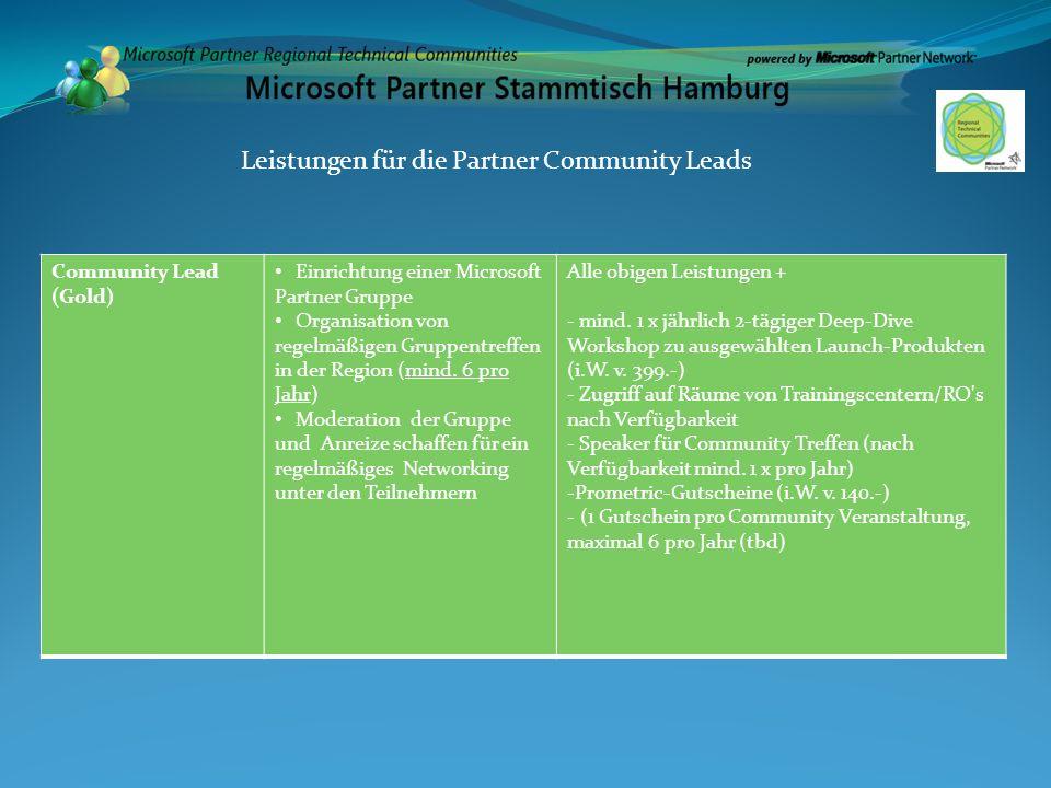 Community Lead (Gold) Einrichtung einer Microsoft Partner Gruppe Organisation von regelmäßigen Gruppentreffen in der Region (mind. 6 pro Jahr) Moderat
