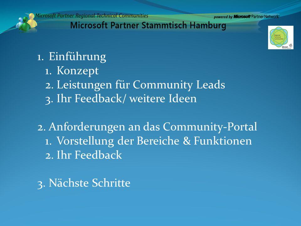 1.Einführung 1.Konzept 2.Leistungen für Community Leads 3.Ihr Feedback/ weitere Ideen 2.Anforderungen an das Community-Portal 1.Vorstellung der Bereic