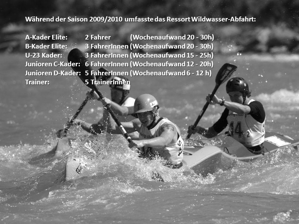 Während der Saison 2009/2010 umfasste das Ressort Wildwasser-Abfahrt: A-Kader Elite: 2 Fahrer (Wochenaufwand 20 - 30h) B-Kader Elite: 3 FahrerInnen (Wochenaufwand 20 - 30h) U-23 Kader:3 FahrerInnen (Wochenaufwand 15 - 25h) Junioren C-Kader:6 FahrerInnen (Wochenaufwand 12 - 20h) Junioren D-Kader: 5 FahrerInnen (Wochenaufwand 6 - 12 h) Trainer: 5 TrainerInnen