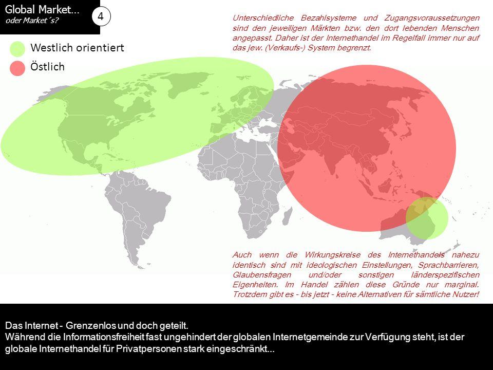 Global Market… oder Market´s. Westlich orientiert Das Internet - Grenzenlos und doch geteilt.