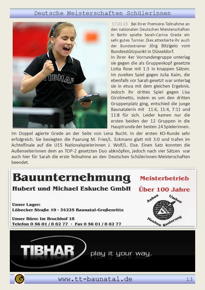 Deutsche Meisterschaften Schülerinnen www.tt-baunatal.de www.tt-baunatal.de 13 17.03.13 Bei ihrer Premiere-Teilnahme an den nationalen Deutschen Meist