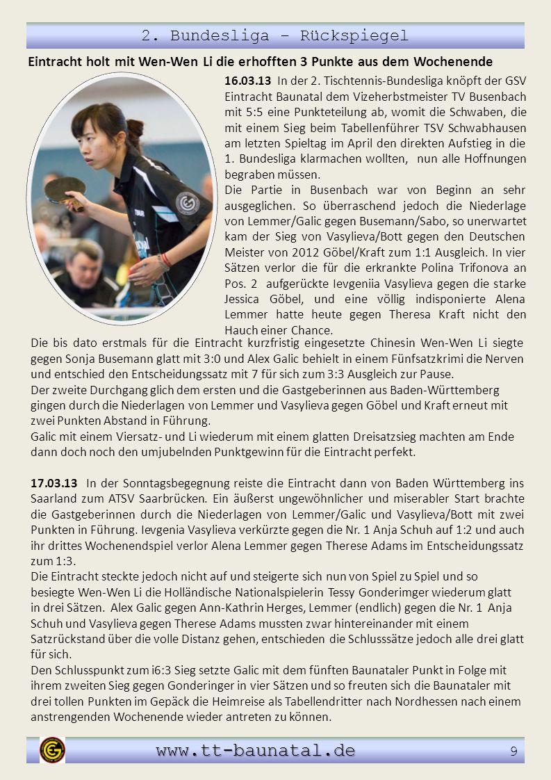 2. Bundesliga - Rückspiegel www.tt-baunatal.de www.tt-baunatal.de 9 Die bis dato erstmals für die Eintracht kurzfristig eingesetzte Chinesin Wen-Wen L