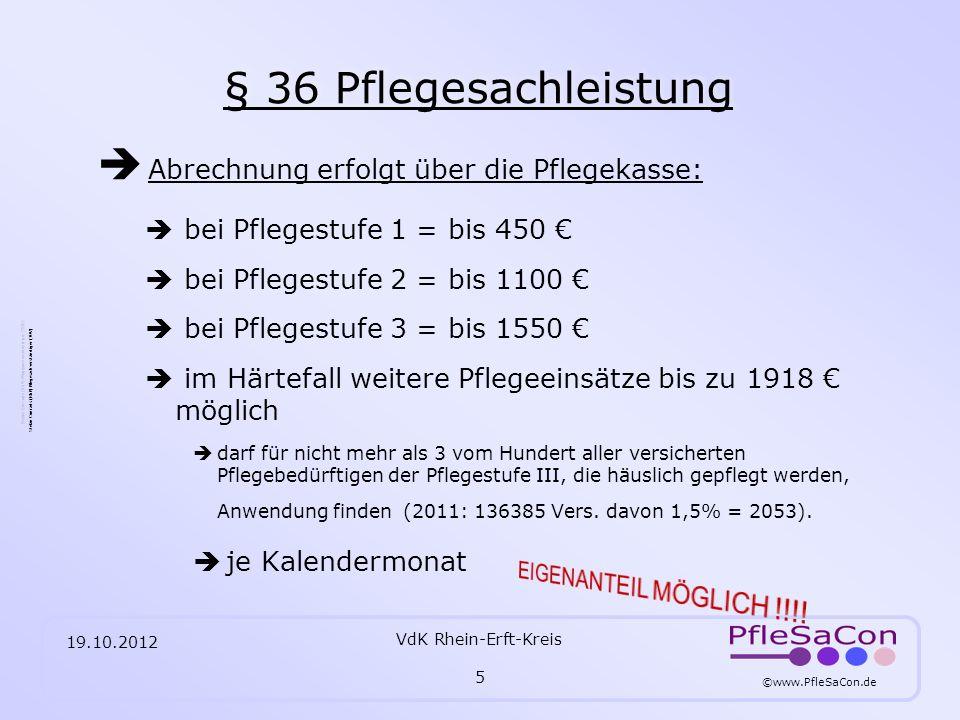 ©www.PfleSaCon.de Stefan Conrads (RbP) Pflegesachverständiger (TÜV) 19.10.2012 VdK Rhein-Erft-Kreis 6 § 37 Pflegegeld Pflege selbst sicherstellen bei Pflegestufe 1 = 235 bei Pflegestufe 2 = 440 bei Pflegestufe 3 = 700 je Kalendermonat Beim Bezug von Pflegegeld ist eine Beratung durch eine zugelassene Pflegeeinrichtung erforderlich.