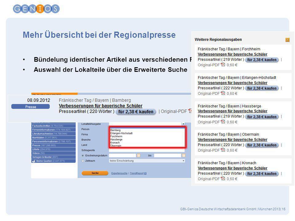 GBI-Genios Deutsche Wirtschaftsdatenbank GmbH | München 2013| 15 Mehr Übersicht bei der Regionalpresse Bündelung identischer Artikel aus verschiedenen