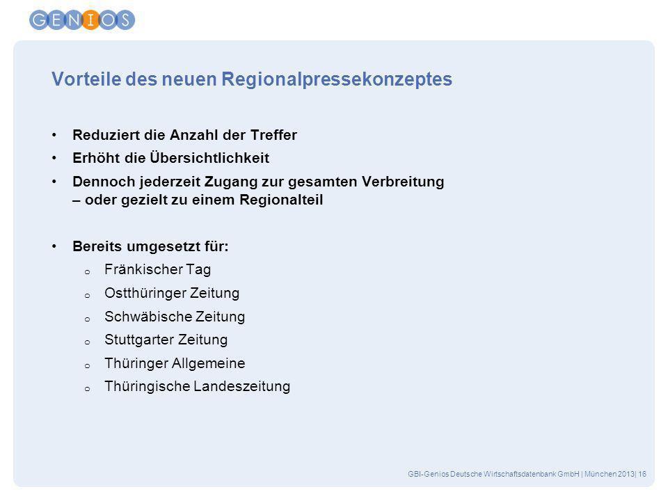 GBI-Genios Deutsche Wirtschaftsdatenbank GmbH | München 2013| 16 Vorteile des neuen Regionalpressekonzeptes Reduziert die Anzahl der Treffer Erhöht di
