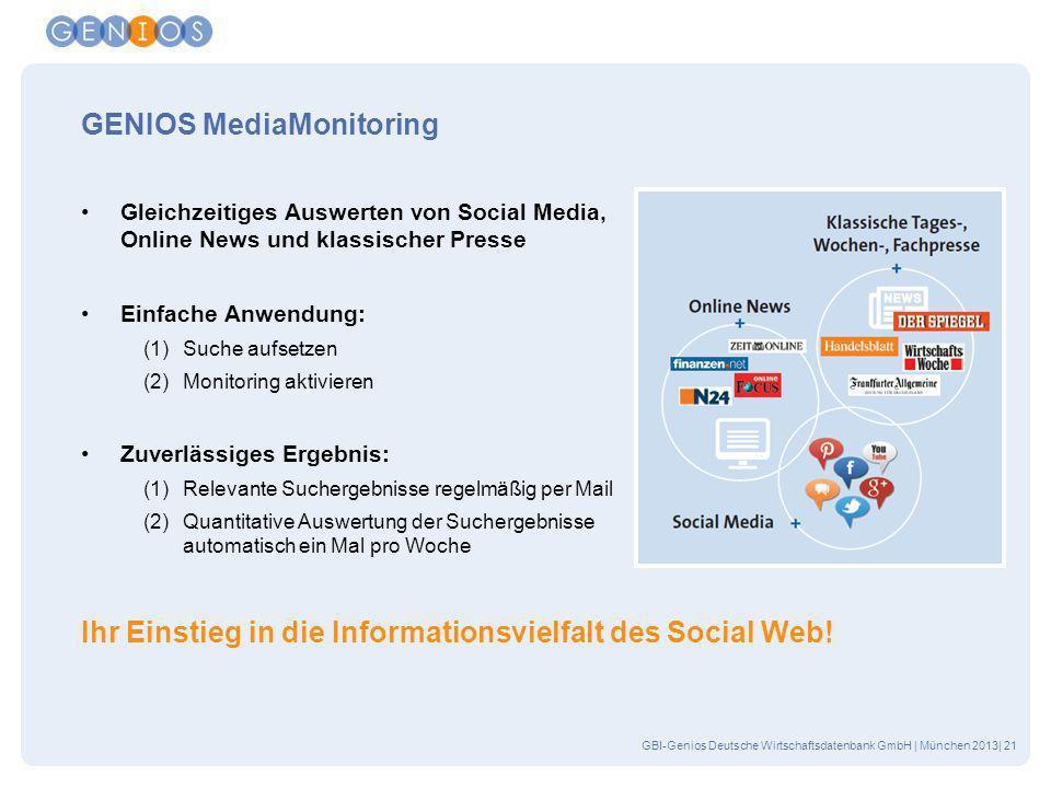 GBI-Genios Deutsche Wirtschaftsdatenbank GmbH | München 2013| 21 GENIOS MediaMonitoring Gleichzeitiges Auswerten von Social Media, Online News und kla