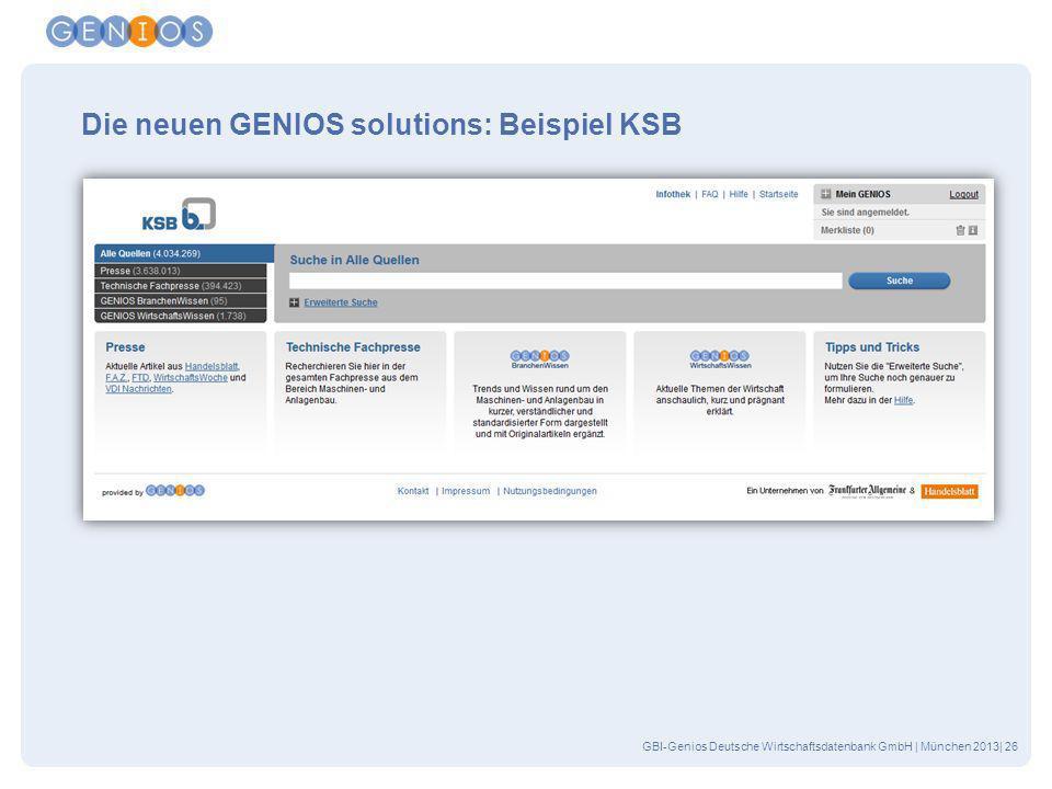 GBI-Genios Deutsche Wirtschaftsdatenbank GmbH | München 2013| 26 Die neuen GENIOS solutions: Beispiel KSB