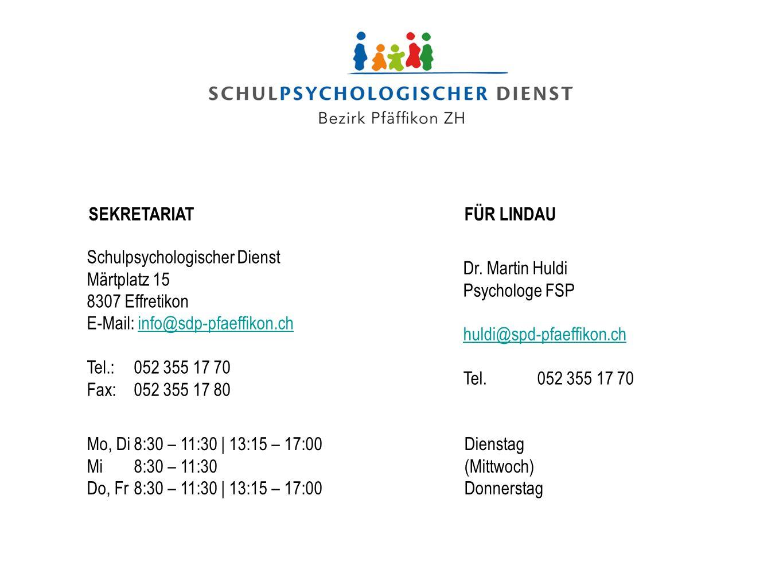 SEKRETARIATFÜR LINDAU Schulpsychologischer Dienst Märtplatz 15 8307 Effretikon E-Mail: info@sdp-pfaeffikon.chinfo@sdp-pfaeffikon.ch Tel.:052 355 17 70