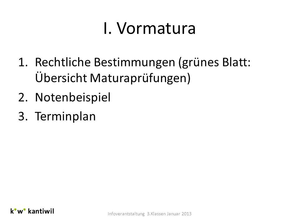 I. Vormatura 1.Rechtliche Bestimmungen (grünes Blatt: Übersicht Maturaprüfungen) 2.Notenbeispiel 3.Terminplan Infoverantstaltung 3.Klassen Januar 2013
