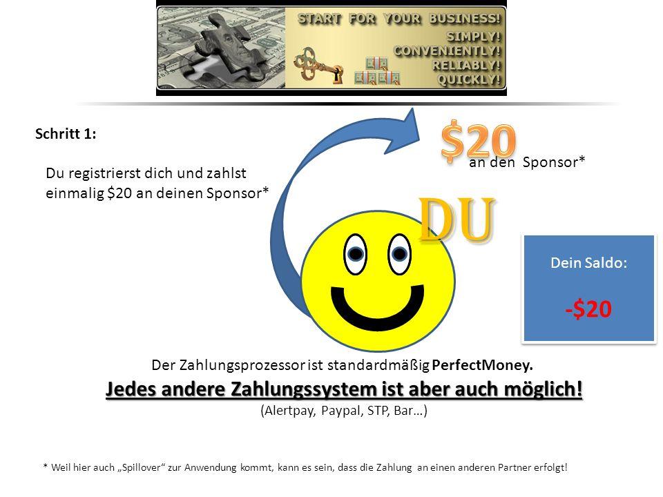Schritt 1: Du registrierst dich und zahlst einmalig $20 an deinen Sponsor* * Weil hier auch Spillover zur Anwendung kommt, kann es sein, dass die Zahlung an einen anderen Partner erfolgt.