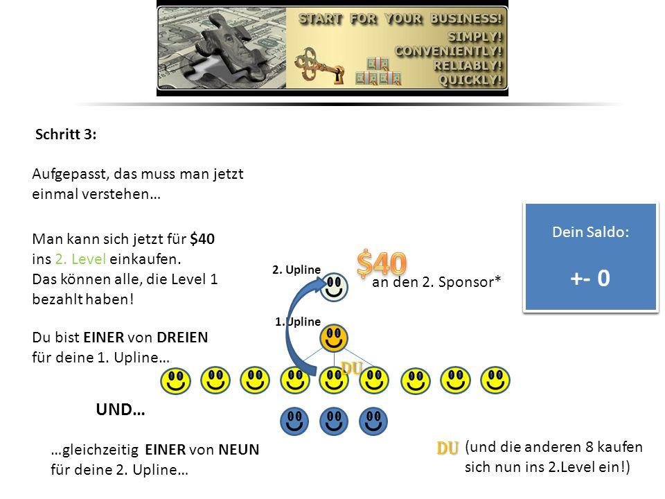 Schritt 3: Aufgepasst, das muss man jetzt einmal verstehen… Dein Saldo: + $40 Dein Saldo: + $40 Man kann sich jetzt für $40 ins 2.