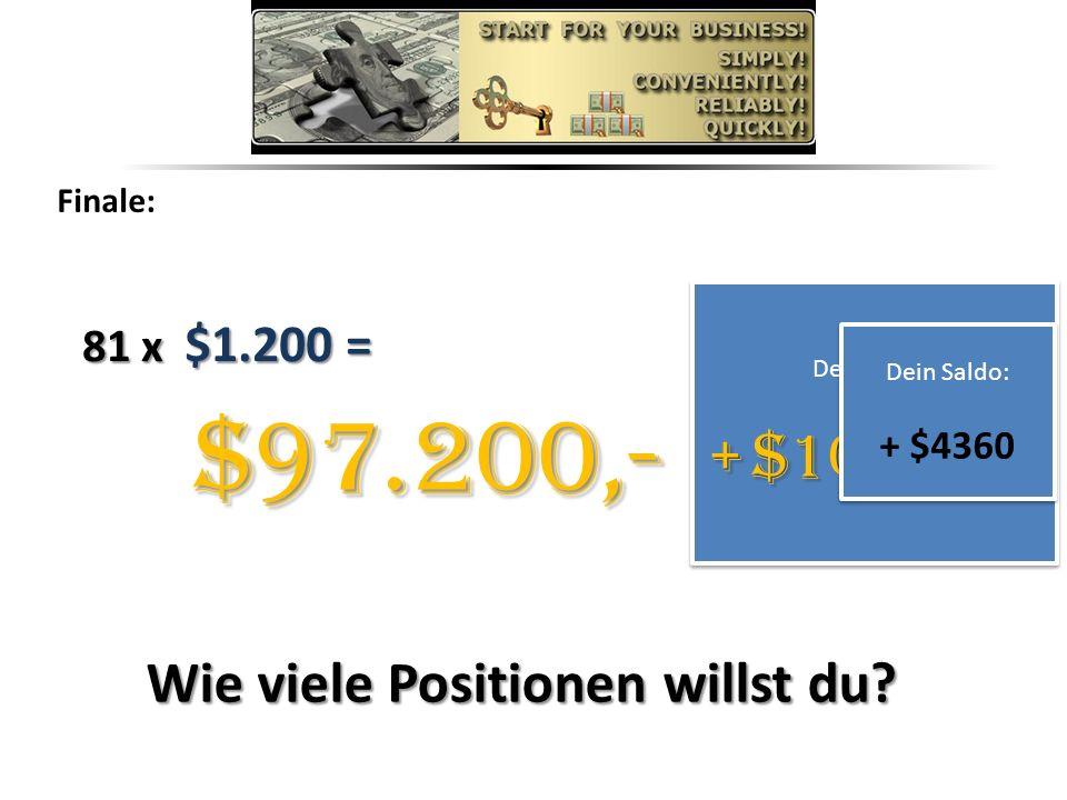 Finale: 81 x $1.200 = Dein Saldo: +$101.560 + $101.560 Dein Saldo: +$101.560 + $101.560 $97.200,- Dein Saldo: + $4360 Dein Saldo: + $4360 Wie viele Positionen willst du?