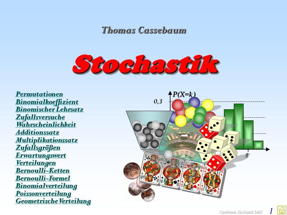 Cassebaum, Stochastik SekII 1 P(X=k ) 0,2 0,1 2244 0,3 6688 00 StochastikStochastik Thomas Cassebaum Permutationen Binomialkoeffizient Binomischer Leh
