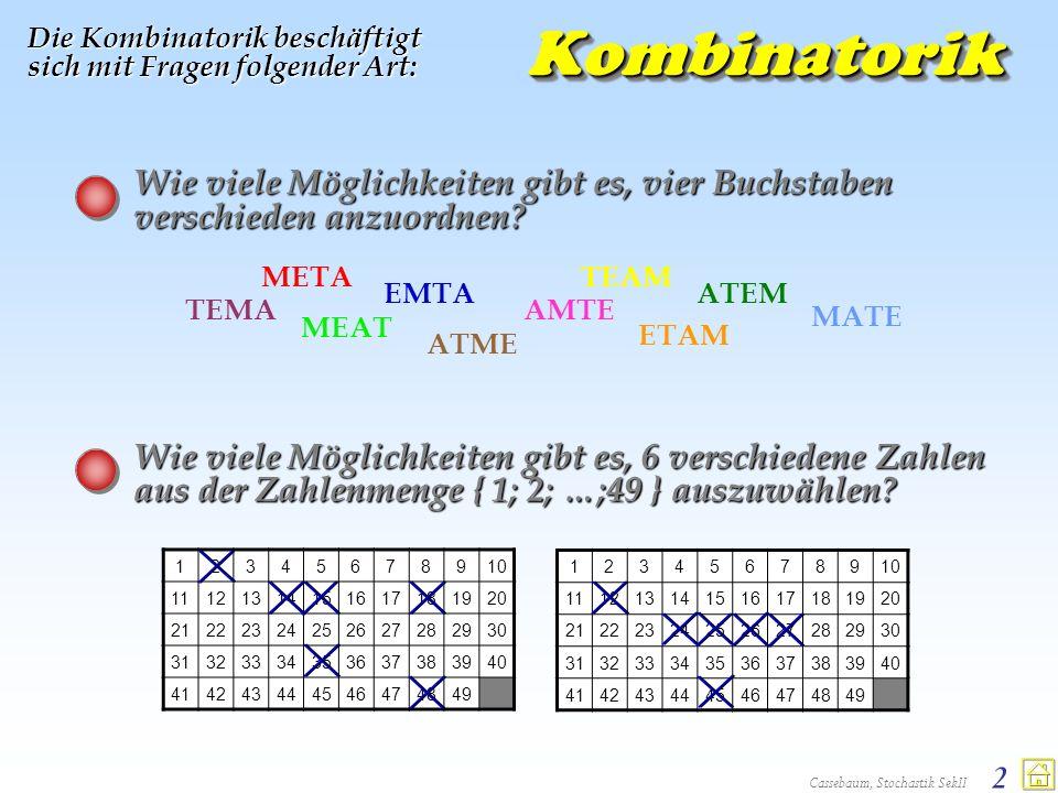 Cassebaum, Stochastik SekII 2KombinatorikKombinatorik Die Kombinatorik beschäftigt sich mit Fragen folgender Art: Wie viele Möglichkeiten gibt es, vie
