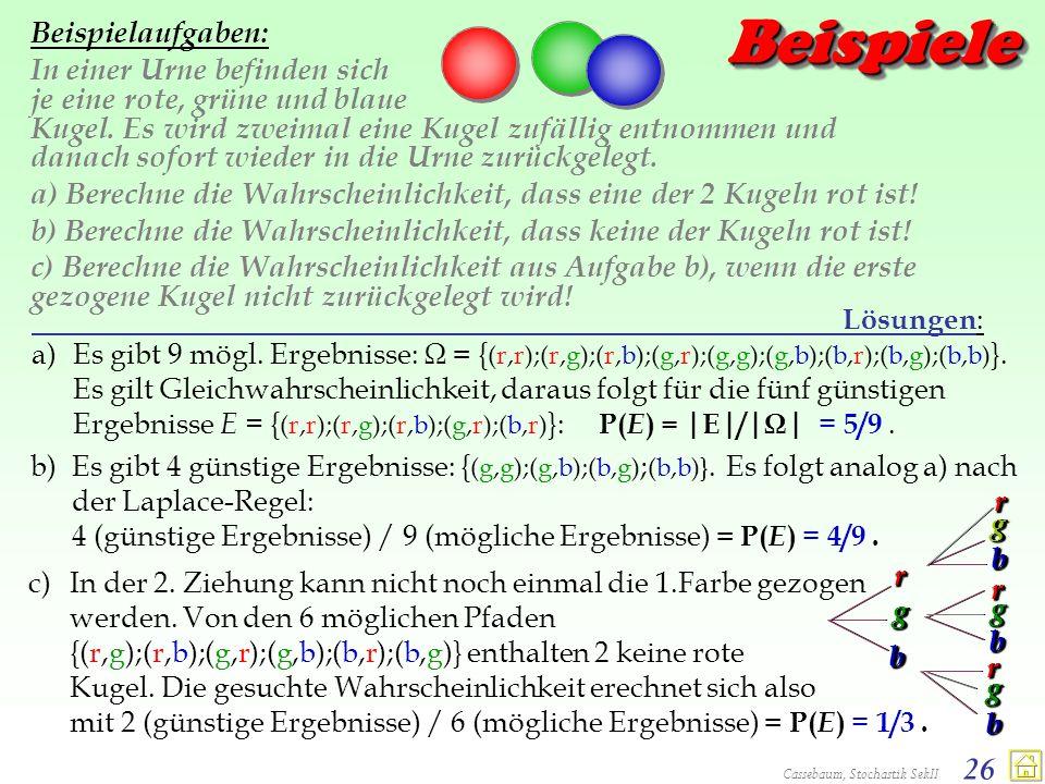 Cassebaum, Stochastik SekII 26 BeispieleBeispiele Beispielaufgaben: In einer Urne befinden sich je eine rote, grüne und blaue Kugel. Es wird zweimal e