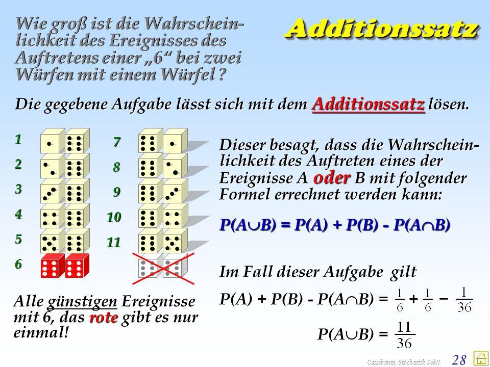 Cassebaum, Stochastik SekII 28 AdditionssatzAdditionssatz Wie groß ist die Wahrschein- lichkeit des Ereignisses des Auftretens einer 6 bei zwei Würfen