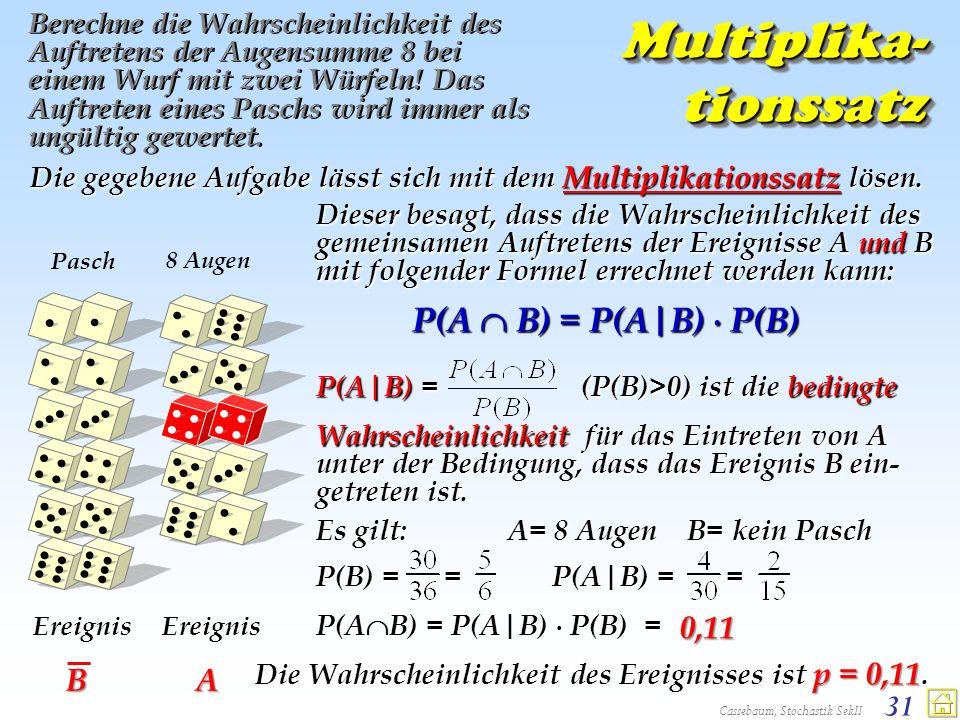 Cassebaum, Stochastik SekII 31 Dieser besagt, dass die Wahrscheinlichkeit des gemeinsamen Auftretens der Ereignisse A und B mit folgender Formel errec