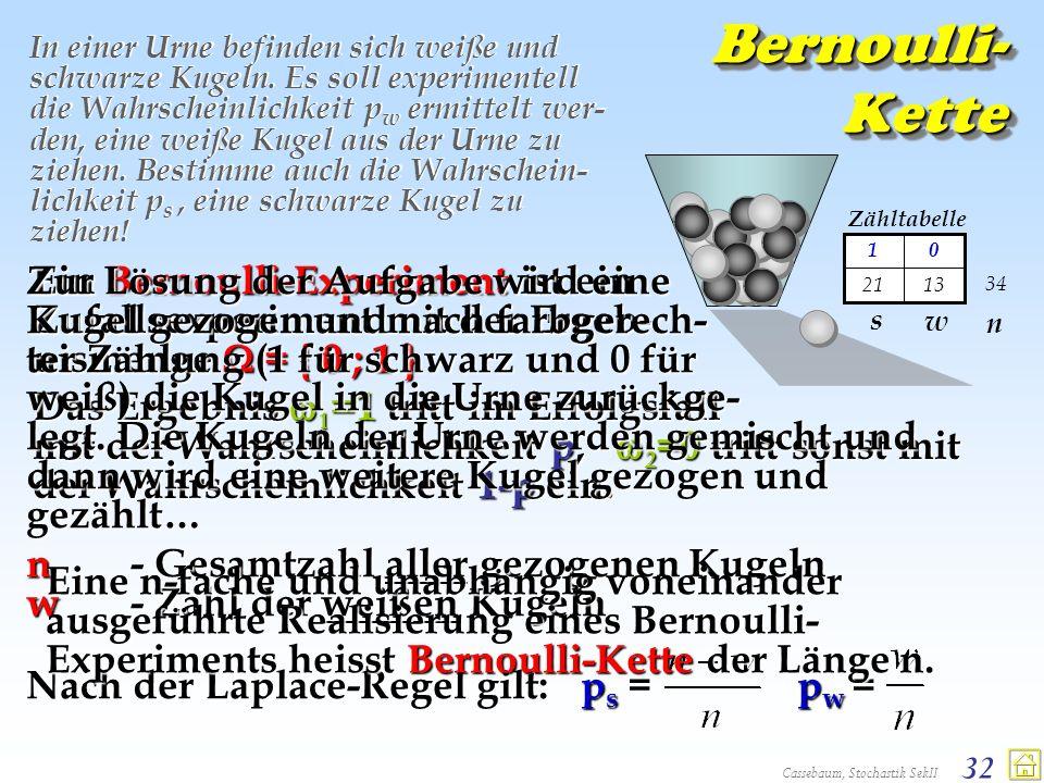 Cassebaum, Stochastik SekII 32 Bernoulli- Kette In einer Urne befinden sich weiße und schwarze Kugeln. Es soll experimentell die Wahrscheinlichkeit p