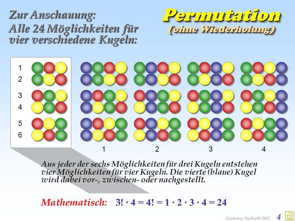 Cassebaum, Stochastik SekII 35 Bernoulli- Formel b(n; p; k) = P(X=k) = p k (1-p) n-k b(n; p; k) = P(X=k) = p k (1-p) n-k nknknknk Faktor 1: Binomialkoeffizient zur Bestimmung der Anzahl der Möglich- keiten, k Elemente aus insgesamt n Elemen- ten zu erwählen.
