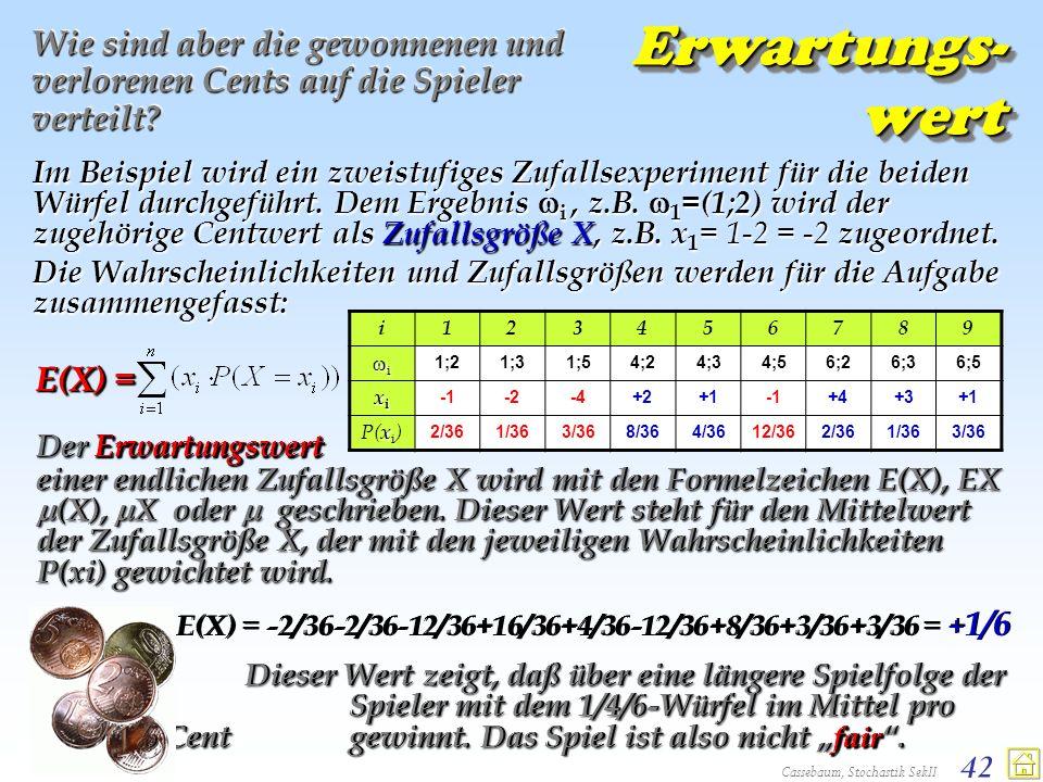 Cassebaum, Stochastik SekII 42 Erwartungs- wert Wie sind aber die gewonnenen und verlorenen Cents auf die Spieler verteilt? Im Beispiel wird ein zweis
