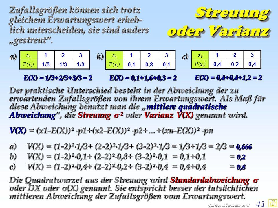 Cassebaum, Stochastik SekII 43 Streuung oder Varianz Zufallsgrößen können sich trotz gleichem Erwartungswert erheb- lich unterscheiden, sie sind ander