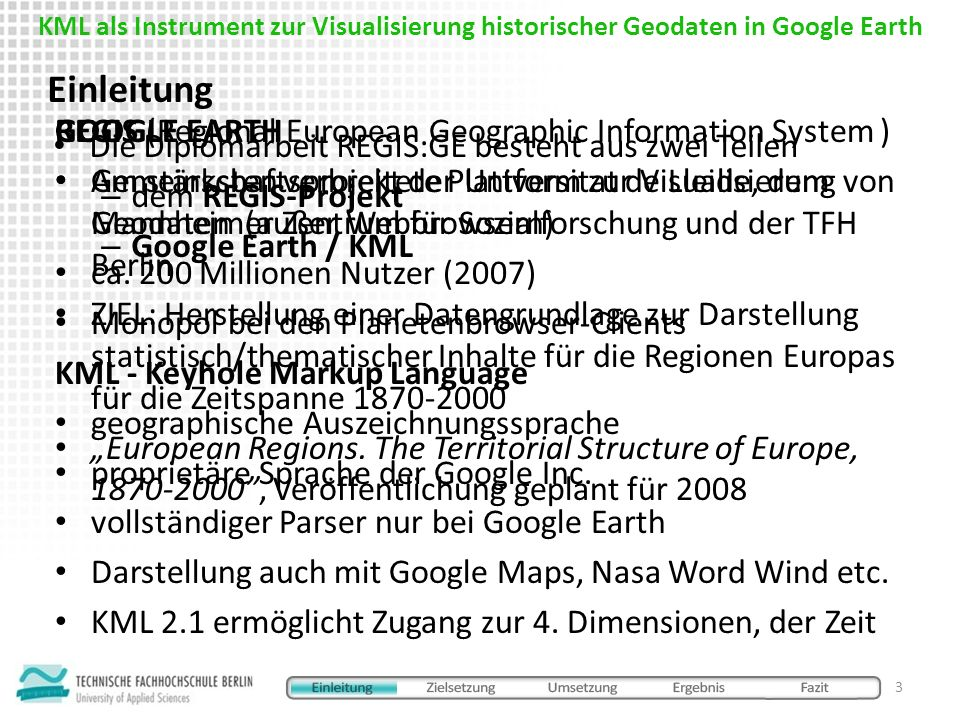 Google Earth und KML 2.1 sind geeignet Geodaten, auch historische, zu visualisieren KML 2.1 bieten noch nur unzureichende kartographische Darstellungsmittel und weißt Sicherheitsschwächen auf Aussicht Google trat Anfang 2006 dem Open Geospatial Consortium (OGC) bei künftig ist mit V erbesserungen von KML und einer Bedeutungssteigerung zu rechnen einige der Probleme bei REGIS:GE könnte mit einem WFS-Serversystem gelöst werden Fazit 14 KML als Instrument zur Visualisierung historischer Geodaten in Google Earth