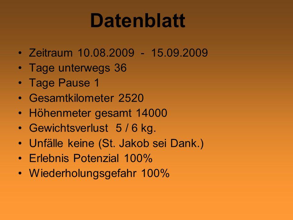 Datenblatt Zeitraum 10.08.2009 - 15.09.2009 Tage unterwegs 36 Tage Pause 1 Gesamtkilometer 2520 Höhenmeter gesamt 14000 Gewichtsverlust 5 / 6 kg. Unfä