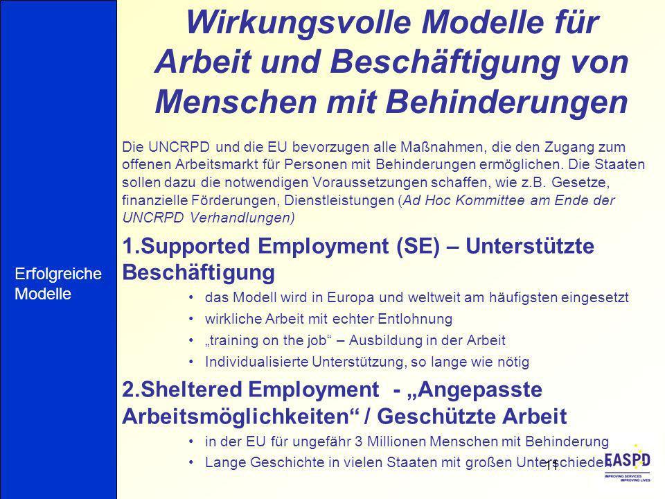 Wirkungsvolle Modelle für Arbeit und Beschäftigung von Menschen mit Behinderungen Die UNCRPD und die EU bevorzugen alle Maßnahmen, die den Zugang zum offenen Arbeitsmarkt für Personen mit Behinderungen ermöglichen.