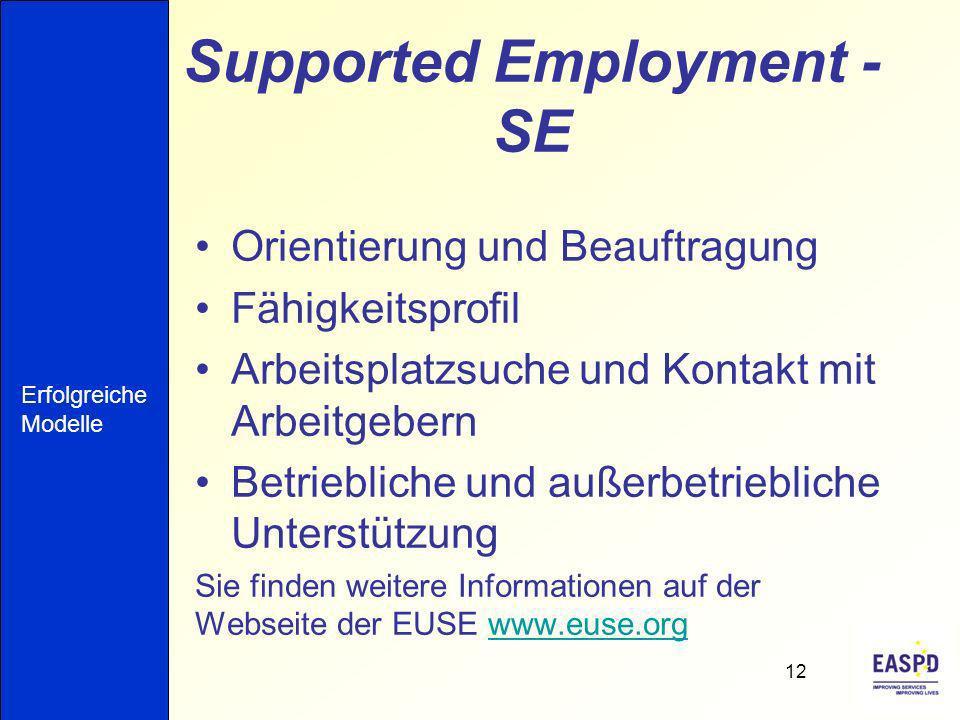 Supported Employment - SE Orientierung und Beauftragung Fähigkeitsprofil Arbeitsplatzsuche und Kontakt mit Arbeitgebern Betriebliche und außerbetriebliche Unterstützung Sie finden weitere Informationen auf der Webseite der EUSE www.euse.orgwww.euse.org 12 Erfolgreiche Modelle
