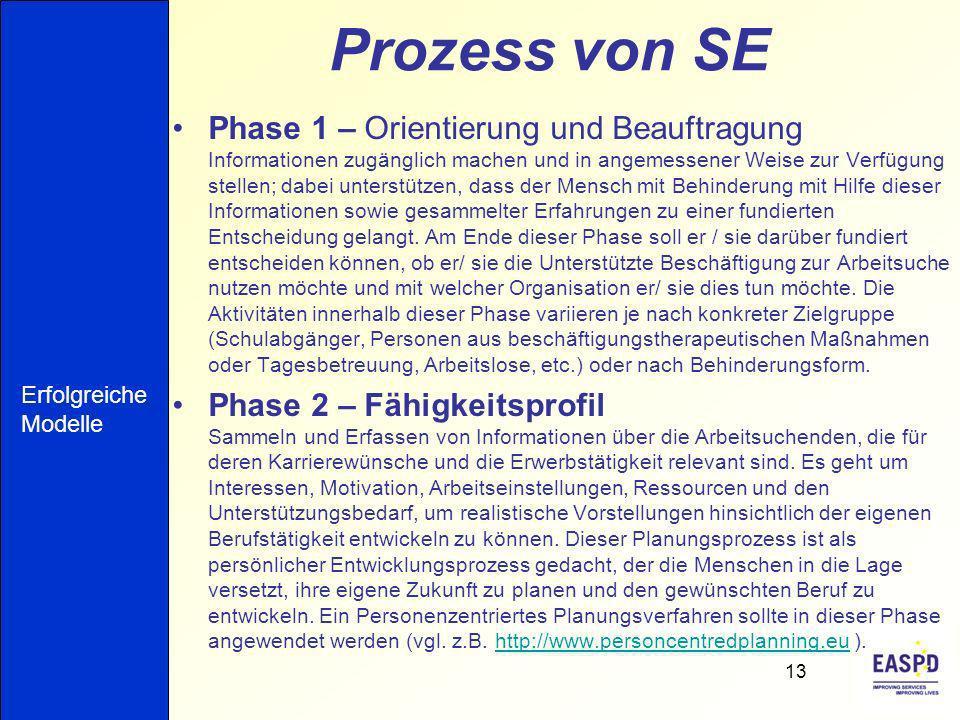 Prozess von SE Phase 1 – Orientierung und Beauftragung Informationen zugänglich machen und in angemessener Weise zur Verfügung stellen; dabei unterstü