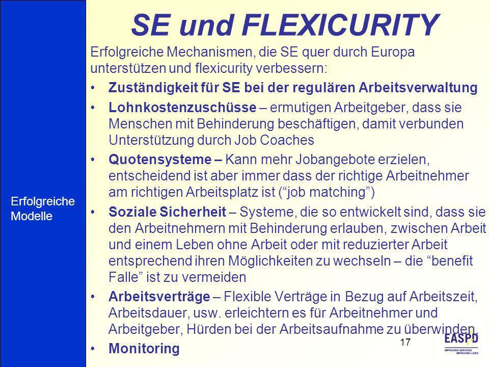 SE und FLEXICURITY Erfolgreiche Mechanismen, die SE quer durch Europa unterstützen und flexicurity verbessern: Zuständigkeit für SE bei der regulären Arbeitsverwaltung Lohnkostenzuschüsse – ermutigen Arbeitgeber, dass sie Menschen mit Behinderung beschäftigen, damit verbunden Unterstützung durch Job Coaches Quotensysteme – Kann mehr Jobangebote erzielen, entscheidend ist aber immer dass der richtige Arbeitnehmer am richtigen Arbeitsplatz ist (job matching) Soziale Sicherheit – Systeme, die so entwickelt sind, dass sie den Arbeitnehmern mit Behinderung erlauben, zwischen Arbeit und einem Leben ohne Arbeit oder mit reduzierter Arbeit entsprechend ihren Möglichkeiten zu wechseln – die benefit Falle ist zu vermeiden Arbeitsverträge – Flexible Verträge in Bezug auf Arbeitszeit, Arbeitsdauer, usw.