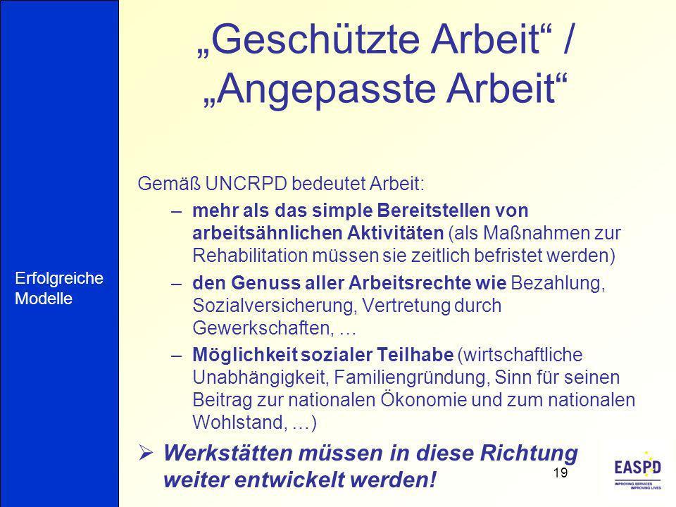 Geschützte Arbeit / Angepasste Arbeit Gemäß UNCRPD bedeutet Arbeit: –mehr als das simple Bereitstellen von arbeitsähnlichen Aktivitäten (als Maßnahmen