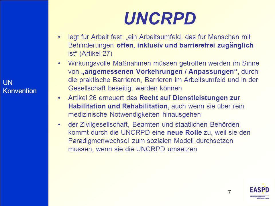 UNCRPD legt für Arbeit fest: ein Arbeitsumfeld, das für Menschen mit Behinderungen offen, inklusiv und barrierefrei zugänglich ist (Artikel 27) Wirkun